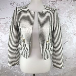 LOFT Black White Stripe Zip Pocket Open Jacket 2P